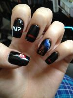 Mass Effect 3 Shepard Nail Art v2 by Gwiibear