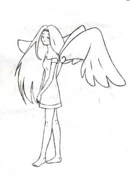 Girl with angel type wings by bubblebee