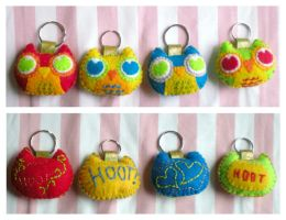 Owlie Owl Keychains by pookat