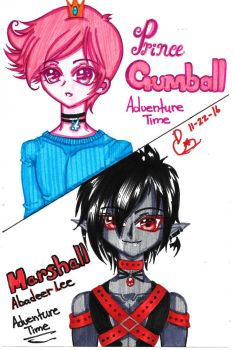 Prince gumball and Marshall lee by Pixiepastel94