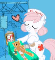 Junior Nurse Redheart (Mr. Winkles in recovery) by what-Nancy-drew