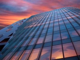 Building and red sky by soulindarkness
