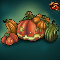 Low poly Pumpkins and Jack-O-Lanterns by Rorozilla
