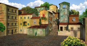 Colorful Village | Premade Background by fumar-porros