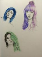 Colourful Hair - Quick Coloured Pencil Drawings by DreamyOpalescence