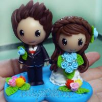 Polymer clay wedding couple by claykokoro
