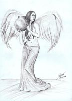 Sketch - Angel with vase by Andreth