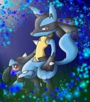 riolu and lucario by myvisiontheumbreon
