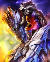Guardians of the Galaxy: Rocket and Groot by Glass-Owl