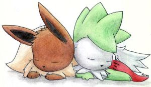 Eevee and Shaymin Sky Form by Togechu