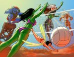 TLIID 85: Marvel girls on beach volleyball by AxelMedellin
