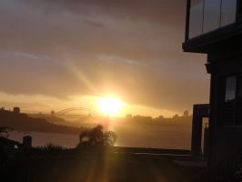 Sunset over the Harbor bridge by Ariel1707