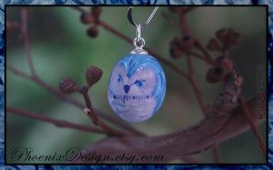Blue Owl Ceramic Pendant/Charm by StephaniePride