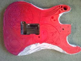 second guitar paint job test BACK WIP by ArrowTurtle