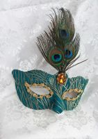 Peacock Brocade And Leather Mask by DaraGallery