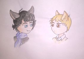 Johnlock cats by gold-blonde