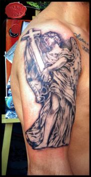 angel statue tattoo by loop1974
