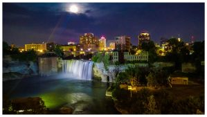 Rochester High Falls at Night by GateFan