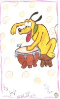 pluto playing the drum by Fajralam
