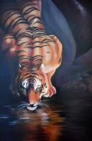 Tiger at Water by Hide-Your-Feathers