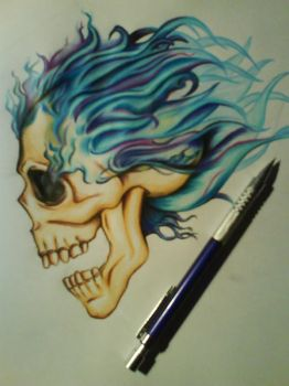 tattoo skull blue flames by fasquezpencilface