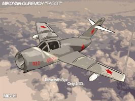 Mig 15 Old Poster by Duskya