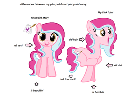 Differences  my pink paint and pink paint mary by MaguiPinkie