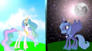 Celestia and Luna by Hardii