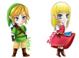 Chibi TLoZ Skyward Sword: Link and Zelda by Azallie