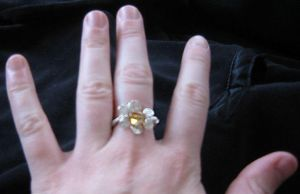 Silver Citrine Spiral Sun Ring by Attackfish