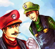 Mario and Luigi by AStudyInScarlet