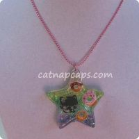 Kitty and Donuts Star Necklace by CatNapCaps