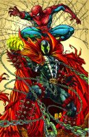 spawn and spidey by Javilaparra