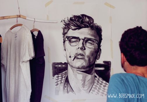 James Dean Portrait by Bobsmade