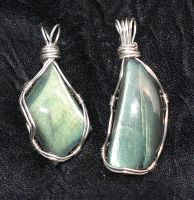 labradorite cabs wrapped by nonomie
