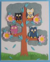 paper owls in a tree by Tash15