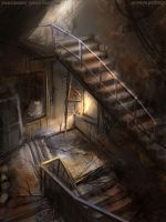 The stairway::speedpainting by BonePileStudio