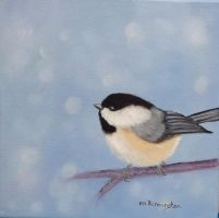 Chickadee in Winter by Marilynpenn