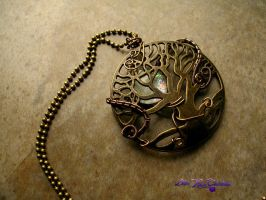 Tree of life - Hand Painted Opal Necklace by LadyPirotessa