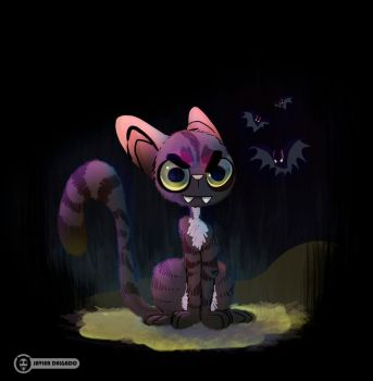 The cat that grew up with bats by WantedGreen