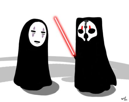 no-face and darth nihilus by majesticnocturne