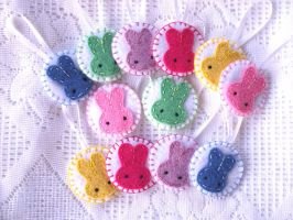 Cute bunny ornaments by PeachPodHandmade