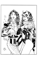Scarlet Witch and Zatanna inks by JosephLSilver