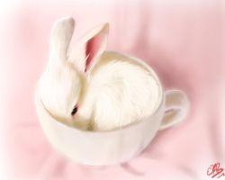 :2014.January.Creatures: Bunny Teacup by Demented-Duo