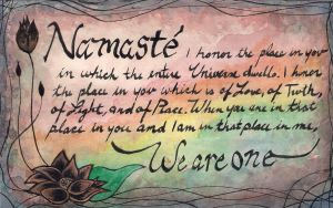 Namaste - Watercolor Painting - We Are One by VioletSuccubus