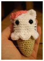 hello kitty ice cream cone by theyarnbunny