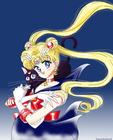 Sailor Moon and Luna Drawing by SuperShadowX