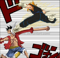 Vegeto x Luffy by lrslink