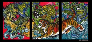 ACEO tiger and Dragon by jupiterjenny