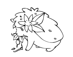 Shaymin Snacking on Flowers by sunnyfish